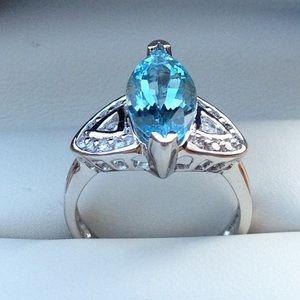 14k WG Aquamarine and Diamond Ring